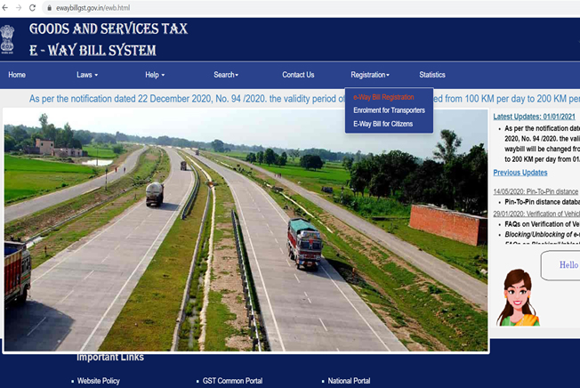 E-Way Bill System Govt Official Website Registration