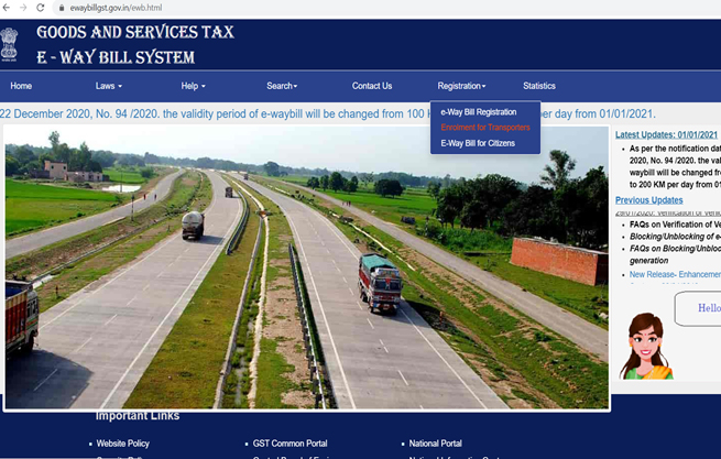Visit E-Way Bill System Govt Official Website