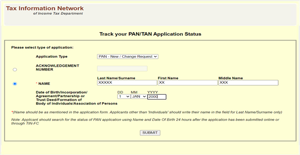 PAN Card Status - Status Track search for PAN/TAN - NSDL