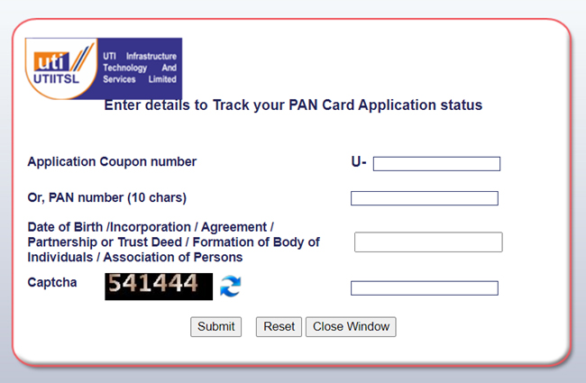 PAN Card Status - UTIITSL :: Track your PAN Application
